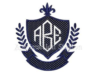 Monogram Crest Applique Machine Embroidery Design INSTANT DOWNLOAD
