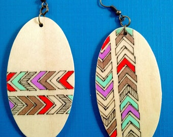 Funky Oval Chevron Earrings