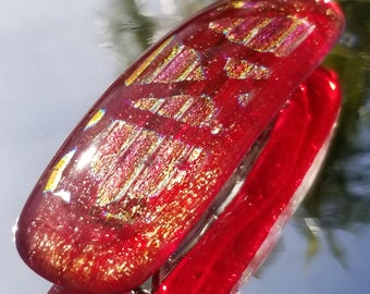 Shimmery red rainbows fused glass women's hair barrette for a woman w dichroic glass Womens Large Red Fused Glass Hair Barrette X30