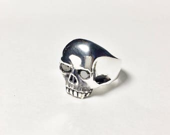 The Badass Solid .925 Silver Skull Ring with Onyx eyes by Berto Palencia