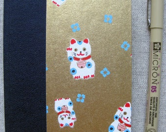 Small Lined Handbound Hardcover Happy Cats Maneki-neko Journal Gold/Navy Blue