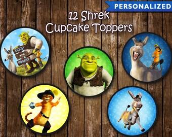 Shrek Cupcake Toppers - Shrek Birthday Decorations - Shrek Party (Printable Digital File)