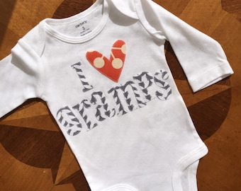 Peraonalized and Appliquéd i heart my gramps baby onesie with gray and orange fabrics