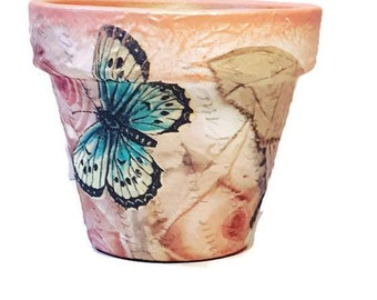 Flower pots butterfly  garden decor home decor handpainted  centerpiece table decor gift for her, gift for mother, for wife, for girlfriend