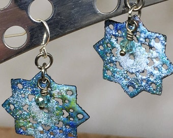 Torch Fired Enamel - Lacy Snowflake in Blues and Greens.