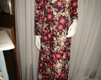 1950's Ladies Long Sleeve Empire Waist FLORAL DRESS in Pink/Brown/Beige----No Label