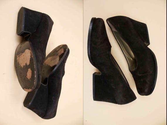 Suede Saint Vtg Black 80s High Sculptural 37 Genuine Wedge 6 Leather Heels YSL 5 Yves 90s Minimalist Modern Laurent Eu 8q5xtwF4x