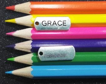5 PCS - Grace Word Message Tag Silver Charm Pendant C1096