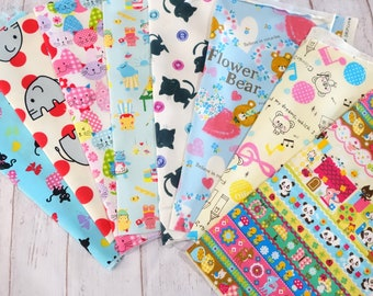 Value set Japanese fabric scrap animals Print set of 8  pieces 9.6 squar  inche each perfect for patchwork fabric covered button etc  sc07