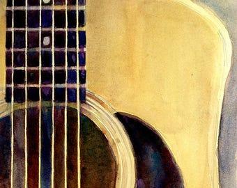 Square Art - Martin Guitar D-28 - Original Watercolor or Art Print - Guitar Players - Rock Stars - Music