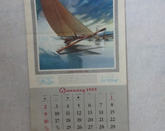 1955 Advertising Calendar with Cars, Boats and Planes
