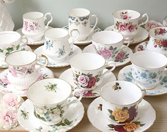 Vintage Mismatched Teacups and Saucers, English Teacups, Set of 12, Mismatched China