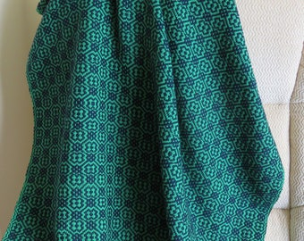 Custom Hand Woven Green and Navy Blue Cotton Lap Blanket, Afghan, Snuggle Blanket, Chair Throw, Wheelchair Blanket, Made to Order