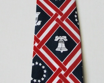 1970s Necktie Patriotic NOS Mitzi Cravat Liberty Bell Red White and Blue