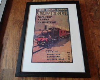 Framed Replica Vintage Train Poster - North London Railway - Open Air Route (Finchley, Hampstead)