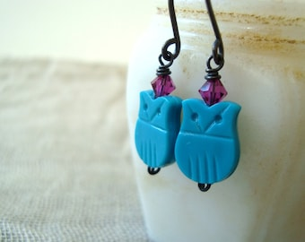 Turquoise Owl Earrings Fuchsia Crystal Fall Fashion Holiday Jewelry Gifts Under 30
