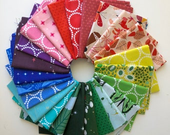 Rainbow fat quarter bundle of Lizzy House fabric (24) for Andover Fabrics