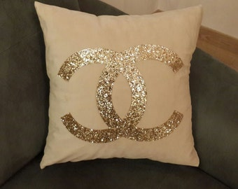 Luxury Pillows, Cream and gold Pillow Cover, Decorative Pillow, Silver pillow, Cream pillow case, Pallet pillow, Gift,Special Pillows,CC