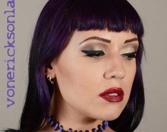 Stitches Necklace Cute creepy - Frankenstein Monster Glam Stitches Choker-Purple Thin  stitches
