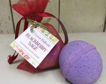 Blackberry Sage Bath Bomb Natural Handmade Essential Oils- Green Daffodil