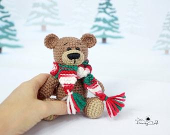 Christmas teddy bear Christmas plush bear lover gift Stocking stuffer Christmas gift Stuffed bear Stocking filler Xmas gift Stuffed animal