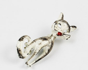 Vintage Painted Cat Brooch
