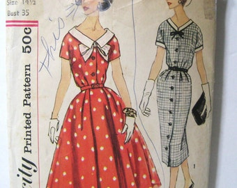 Vintage 50s Dress Pattern, Fitted Sheath & Full Skirt, 2 Skirt Styles, Simplicity 2563 Button Front, V Neck, Short Sleeve 1958 Date, Bust 35