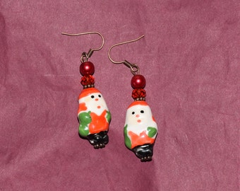 Painted Santa earrings, Father Christmas earrings, Christmas jewellery, Christmas earrings, holiday jewellery, festive earrings, Santa gift