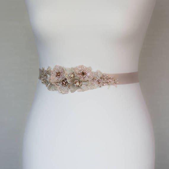 Wedding Dress Belt Lace Dusty Pink Blush Pale Rose Gold Sashes Belts Sash