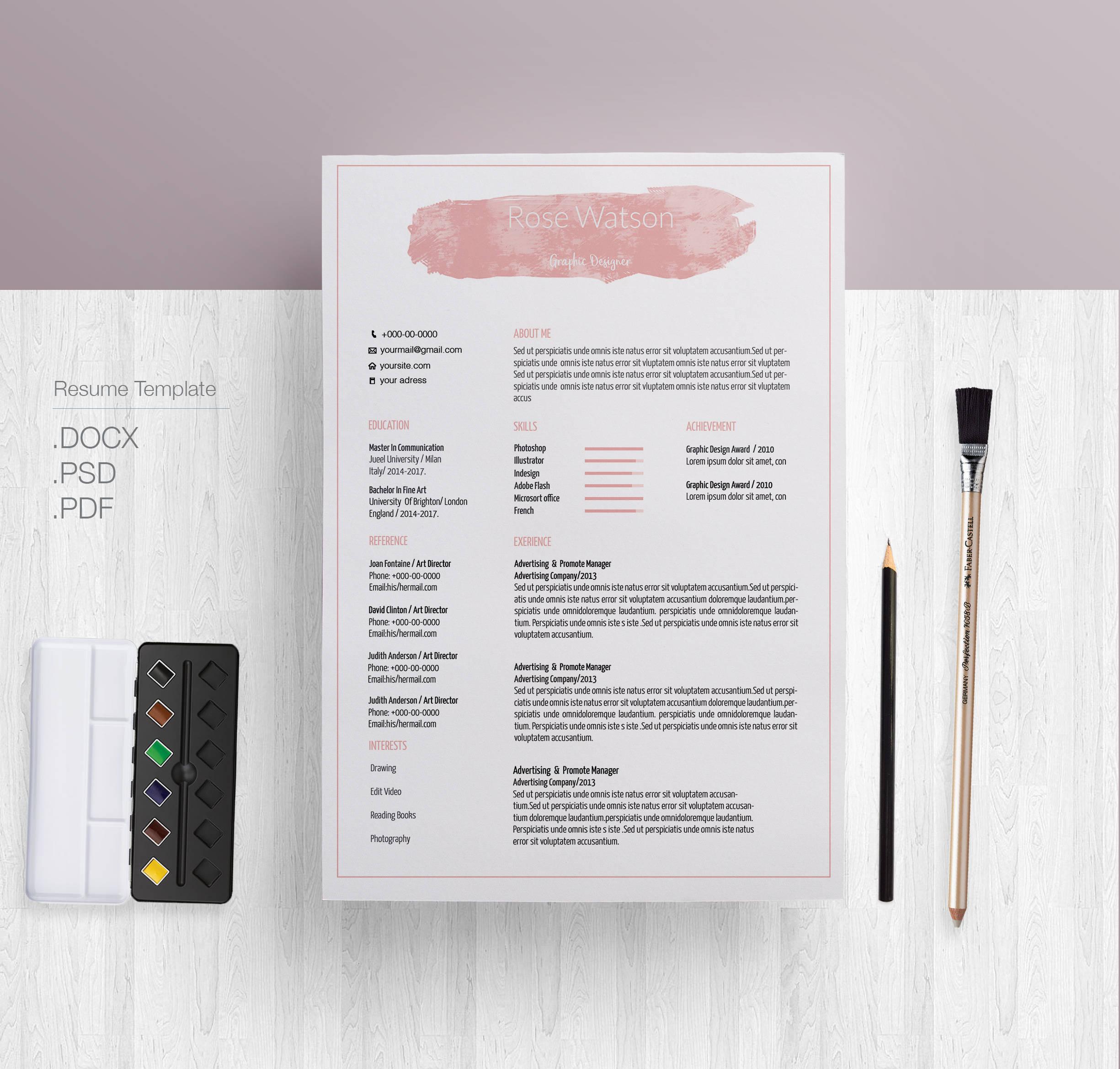 Ausverkauf 20 % Rabatt / rosa Pastell Aquarell Lebenslauf