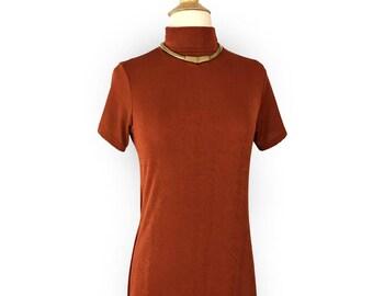 70s Vintage Burnt Orange Dynamite Long Sling Dress