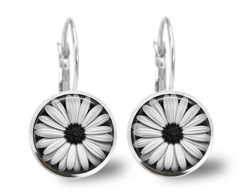 Daisy Earrings Tile Earrings Daisy Earrings Flower Jewelry Flower Earrings Tile Jewelry Black and White Silver Earrings Silver Jewelry