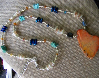 Stone Pendant Necklaces,Orange Jasper Necklace, Natural Pendant Necklace, Stone Necklace,Beaded jewelry,Colorful Jewelry #109