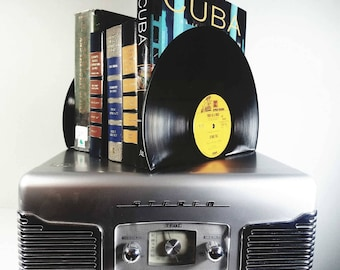 Vinyl Record Bookends - vinyl bookends for the music enthusiast add charm & warmth to any room.  Various Artists Bookends for music lovers