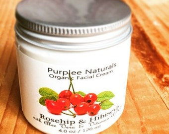 Premium Organic Base Facial Cream {ROSEHIP & HIBISCUS} Gift for her | Wedding favor | Bridesmaid gifts | Baby shower gifts