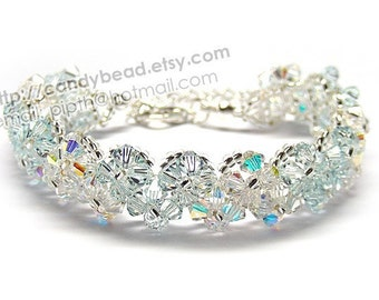 Swarovski Bracelet; Crystal Bracelet; Glass Bracelet; Sweet Light Blue and Aurora Borealis Swarovski Crystal Bracelet by CandyBead