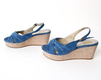 size 8 ESPADRILLE style blue jute 90s PLATFORM WEDGE slip on mules sandals