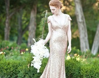 Bacall - Champagne Paillettes Old Hollywood Wedding Gown