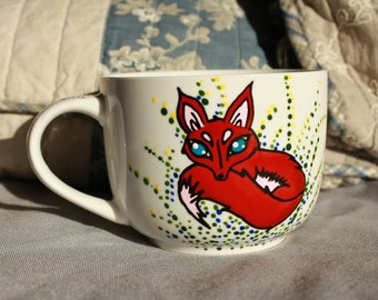 Cup small Fox hand painted