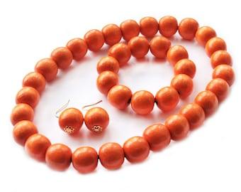 Bright Orange necklace set Organic Jewelry Big wooden ball necklace casual wooden necklace orange necklace bridesmaid orange set