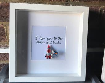 I Love you to the moon and back.  With genuine lego mini figure.