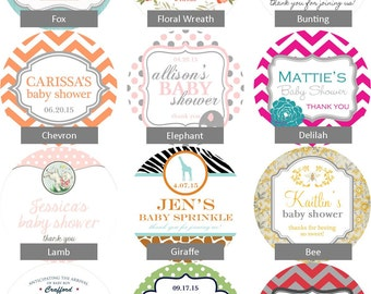36 - Baby Shower Favor Labels - ANY DESIGN - choose your colors // baby shower sticker // baby shower label