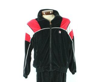 80s FILA Track Suit Zipper Jacket Warmup Pants Black Velour Vintage 1980s Mens Small S