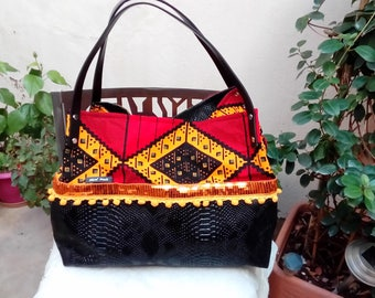 Bag faux leather and wax