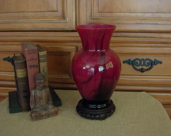 Red Art Glass Vase with Oriental Stand