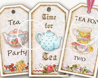 Tea Party Favors, Digital Download, Tea Tags, Bookmarks, printable Gift Tags, Tea printables, Birthday party tags, colorful tea cups, tea
