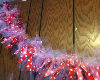 5' Red Polka Dot and Tulle Rag Garland