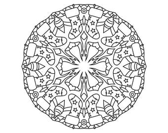 Winter Mandala Holiday Printable Coloring Page - Instant Download - Christmas Holiday Themed Coloring Page