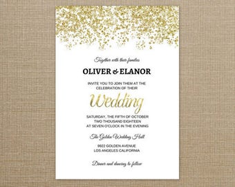 Wedding Invitation Gold Glitter, Wedding Invitation Gold Foil, Gold Glitter Wedding Invitation, Gold Glitter Wedding