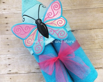 Butterfly Hooded Towel with 3D Wings